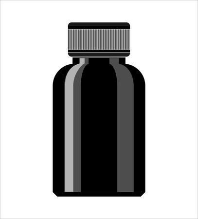 medicine bottle: Black Medicine Bottle. Syrup medicine bottle. Pill Bottle.