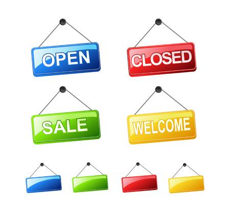 segno: Set di cartelli appesi. Apra il segno Segno chiuso il segno di vendita Welcome Sign. Vettoriali