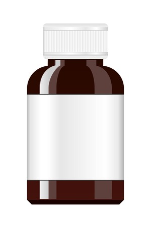 medicine bottle: Medicine Bottle. Syrup medicine bottle. Pill Bottle with label. Illustration