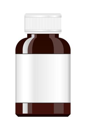 pill bottle: Medicine Bottle. Syrup medicine bottle. Pill Bottle with label. Illustration