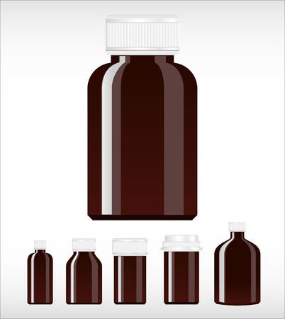 unlabeled: Set of Bottles. Set of Medicine Bottles. Pill Bottles. Syrup medicine bottle. Capsule bottle.