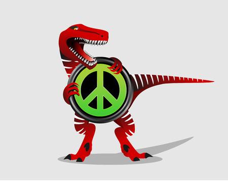 simbolo della pace: Simbolo di pace con dinosauro. Segno di pace. Trex.