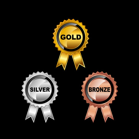 silver ribbon: Set of Medals. Gold Medal. Silver Medal. Bronze Medal.