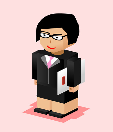 Business woman character illustration. Business woman bring file. Business woman working. Flat design. Vector