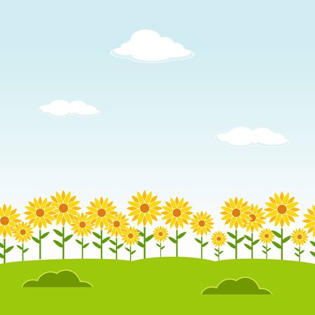 flowers summer: Landscape seamless background. Garden seamless background. Sunflower garden background. Flower landscape background. Clear day landscape background. Nature background. Illustration