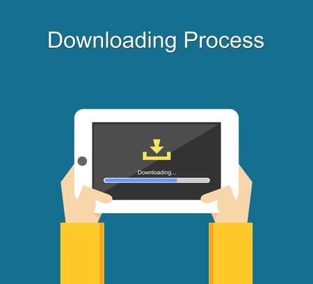 Downloading process on screen of tablet concept illustration. Flat design. Download bar status. Çizim