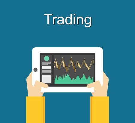 financial position: Trading concept illustration flat design. Monitoring trade on gadget. Illustration
