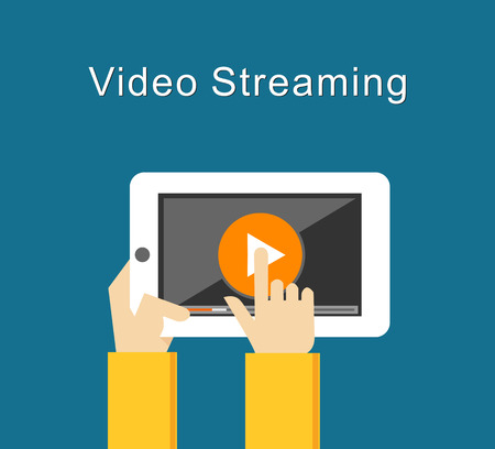 watch video: Video Streaming concept illustration flat design. Watching video on tablet. Play button. Illustration
