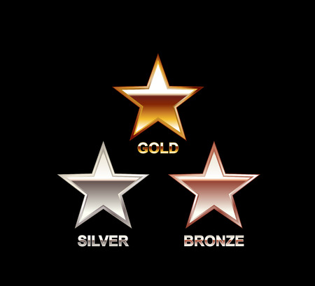 solid silver: Set of Stars. Gold Silver Bronze Star. Star symbol. Polish star. Star illustration. Illustration