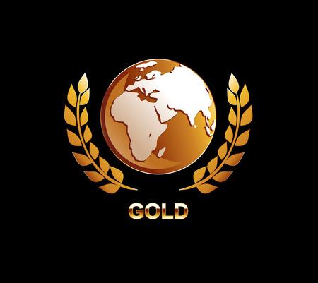 gold globe: Gold globe illustration. Golden globe with laurel icon.