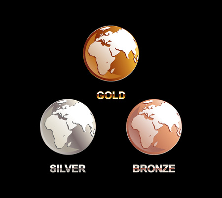 gold silver bronze: Set of globes illustration. Gold silver bronze globe. Globe symbol. Globe illustration Illustration