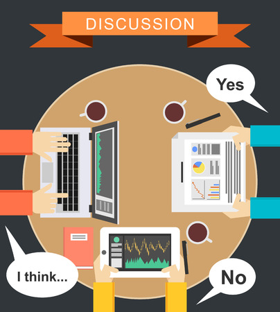 define: Discussion concept illustration. Meeting concept illustration. flat design. Brainstorming concept illustration. Define conclusion