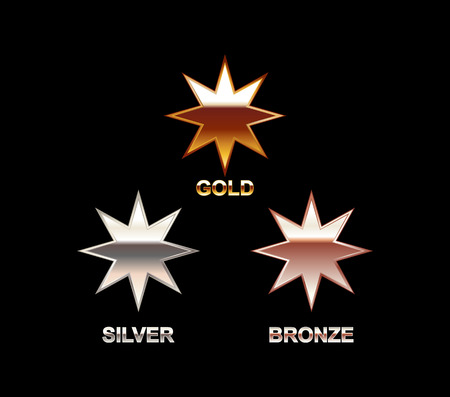 christmas stars: Set of Stars. Gold Silver Bronze Star. Star symbol. Polish star. Star illustration