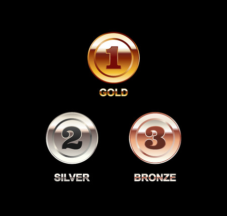 coin silver: Set of coins illustration. Coin with a number. Gold coin silver coin bronze coin. Polish coins. Bright coins.
