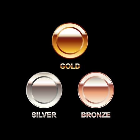 silver medal: Set of coins illustration. Gold coin silver coin bronze coin. Polish coins. Bright coins. Illustration