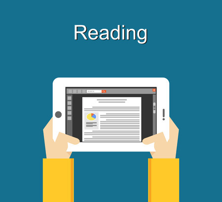 hand holding: Reading concept with media device illustration. Reading with smart phone concept illustration. flat design. Illustration