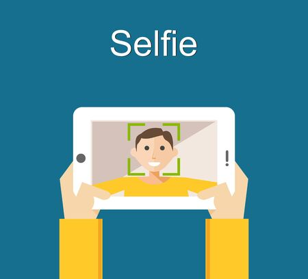 taking picture: Selfie concept illustration flat design. Young man taking selfie with smart phone or gadget.