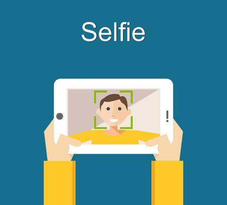 gadget: Selfie concept illustration flat design. Young man taking selfie with smart phone or gadget.