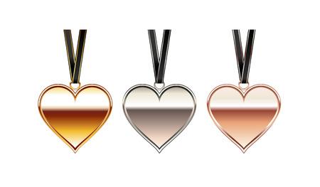 Corazón colgante de ilustración. Collar del corazón. Accesorio de corazón.