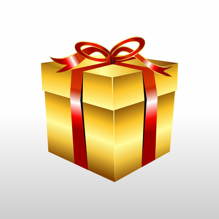 gold gift box: Golden gift box with ribbon illustration. Gold Gift box vector. Illustration