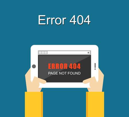 page not found: Error illustration. Flat design. Error concept. Error page not found on tablet screen. Illustration