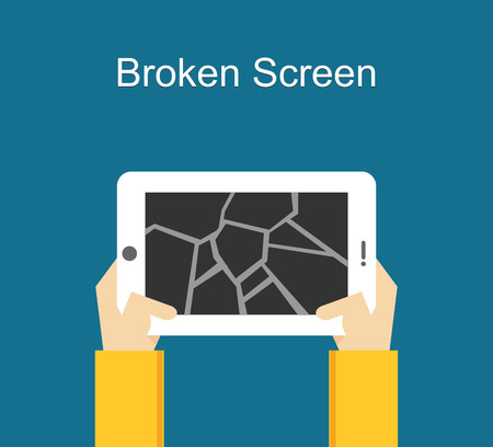 Broken screen illustration. Crack screen concept. Flat design.