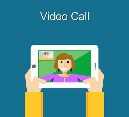 cellphone in hand: Video call illustration. Video call concept. flat design. Illustration