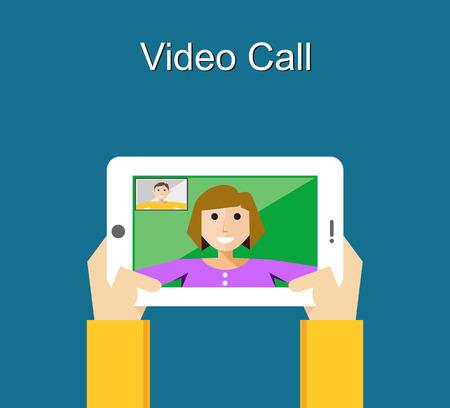 Video call illustration. Video call concept. flat design. Vettoriali