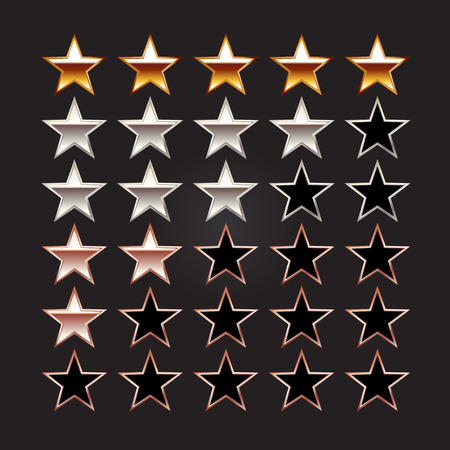silver star: Rating stars. Set of rating stars. Gold star silver star bronze star illustration.