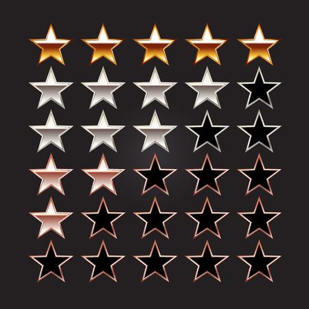 star icon: Rating stars. Set of rating stars. Gold star silver star bronze star illustration.