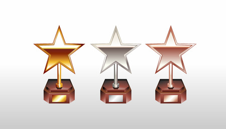 silver stars: Star trophy illustration. Star cup. Gold silver bronze winner cup. Trophy icons.