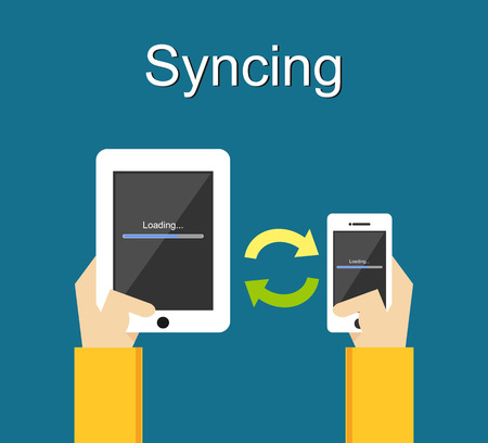 synchronization: Syncing illustration. Flat design. Syncing process on phone illustration concept.