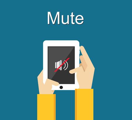 gadget: Mute illustration. Flat design. Mute icon on phone screen illustration concept. Volume control. Illustration