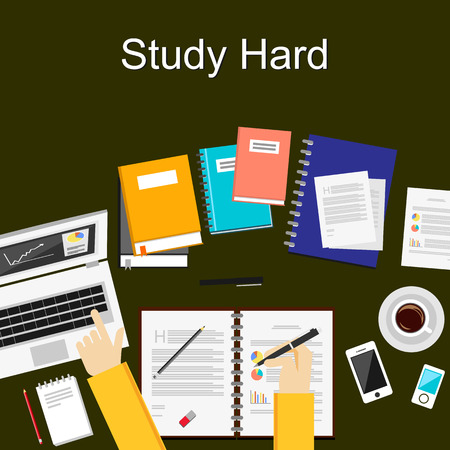 Flat design illustration concepts for study hard working research analysis management career brainstorming finance working. Concepts for web banner and printed materials. 일러스트