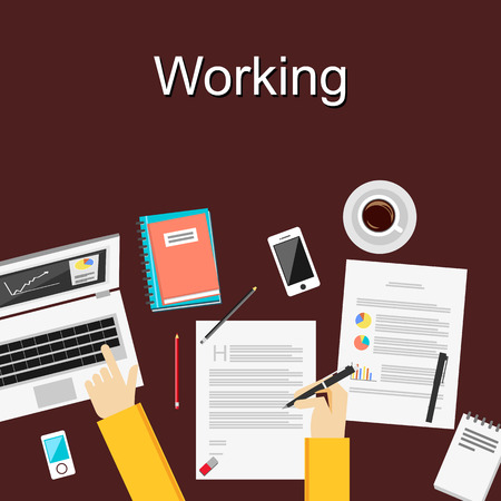 vector studies: Flat design illustration concepts for working study hard management career brainstorming finance working analysis. Concepts for web banner and printed materials.