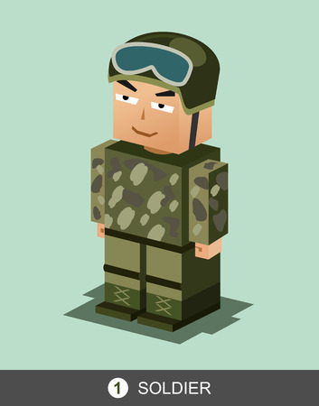 character illustration: Soldier character illustration. Soldier profession illustration.