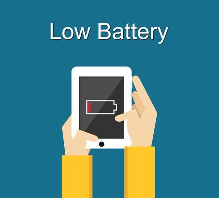알림: 낮은 배터리입니다. 플랫 디자인. 전화 화면에 배터리 부족 알림.