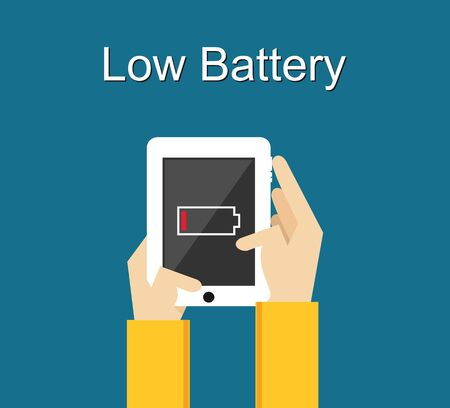 hand holding: Low battery illustration. Flat design. Low battery notification on phone screen. Illustration