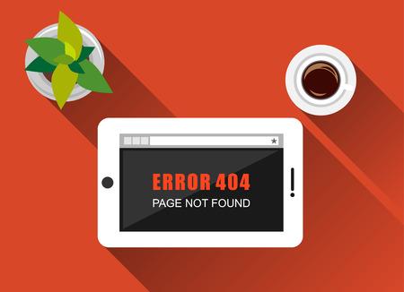 not found: Ilustraci�n de error. Dise�o plano con una larga sombra. Concepto de error. P�gina de error que no se encuentra en la pantalla de la tableta.