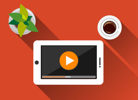 long play: Video Streaming concept illustration flat design with long shadow. Watching video on tablet. Play button.