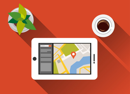 online advertising: Find a place concept illustration flat design with long shadow. Search place concept. Using gadget for searching location.