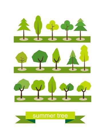 tree design: Set of trees. Flat design. Summer tree symbols. Tree icons.