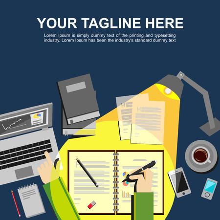 hard: Banner illustration. Flat design illustration concepts for analysis working management study hard brainstorming finance working.