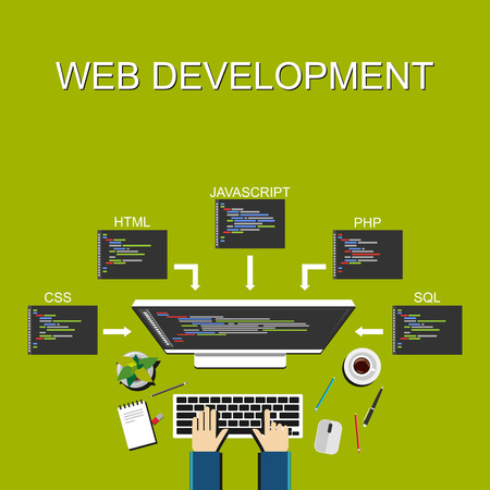 computer language: Web development illustration. Flat design. Banner illustration of web development concept. . Flat design illustration concepts for analysis working brainstorming coding programming and teamwork.