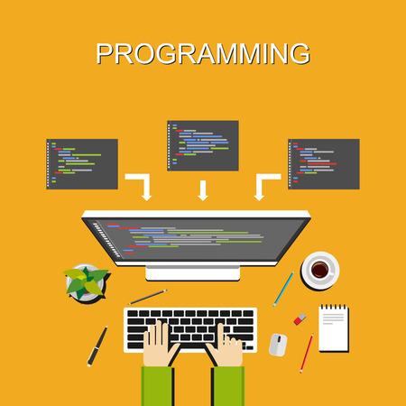 プログラミングの図。フラットなデザイン。プログラミングの概念のバナー イラスト。.プログラミングとチームワークをコーディング解析作業ブレ