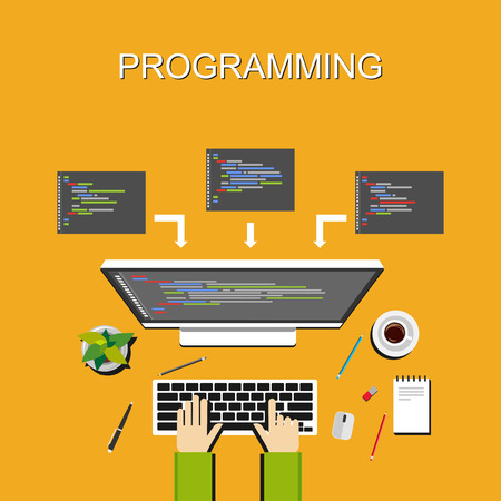Programming illustration. Flat design. Banner illustration of programming concept. . Flat design illustration concepts for analysis working brainstorming coding programming and teamwork. Illustration