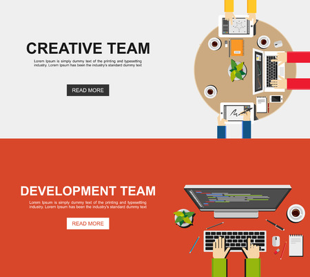 organization development: Banner illustration of creative team and development team. Flat design illustration concepts for analysis working brainstorming working meeting coding programming and teamwork.