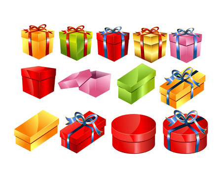 gift boxes: Set of colorful gift boxes with bow illustration.Gift box vector.