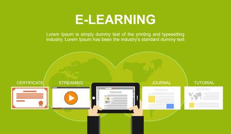 aprendizaje: Piso conceptos de diseño de ilustración para elearning línea estudiar certificado investigación en educación en línea. Conceptos para el banner web y materiales impresos. Vectores