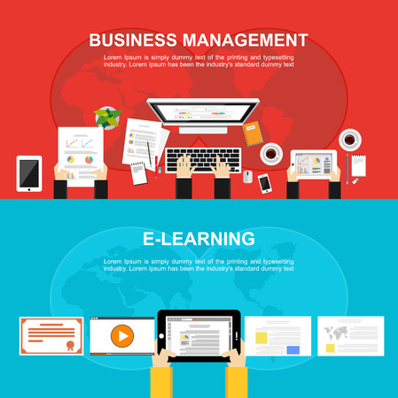 Banner for Business management and Elearning. Flat design Illustration concepts for business analysis working brainstorming monitoring online learning and teamwork.